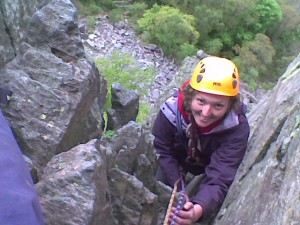 Rock climbing lesson in the peak district